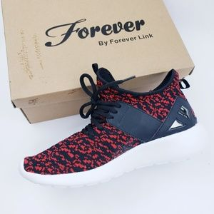 Forever Link Red & Black Lace Up Fashion Sneaker